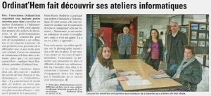 Article La Voix du Nord du 9.10.2011