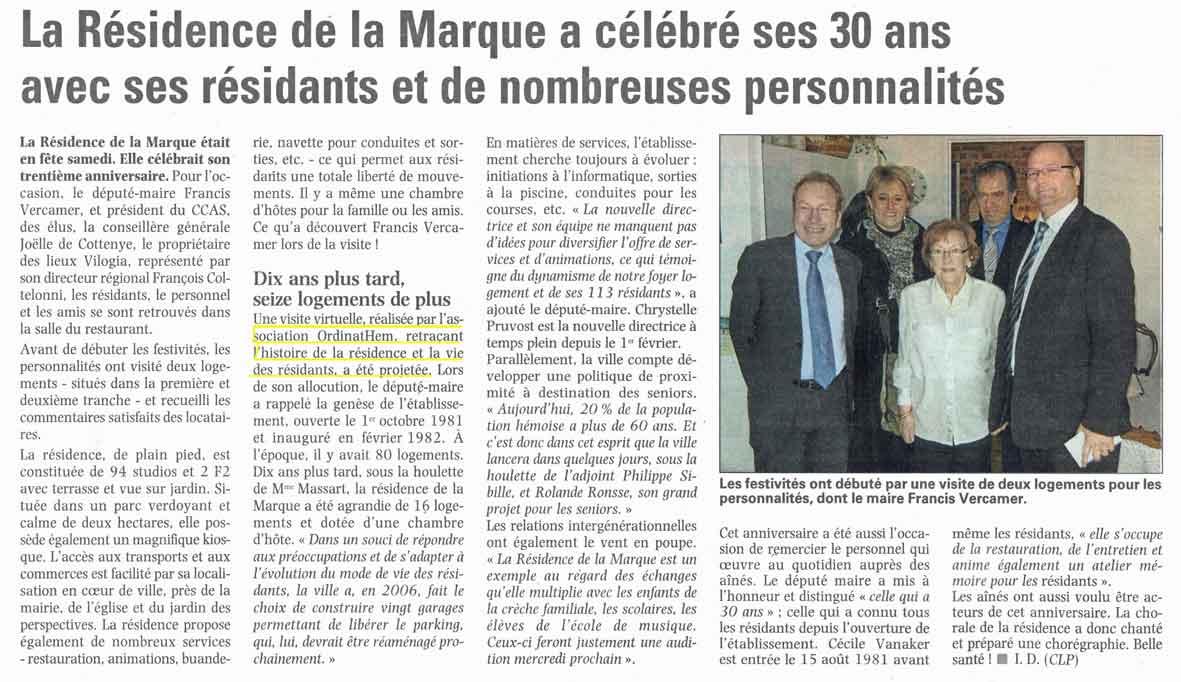 Read more about the article La Voix du Nord 11/02/2012