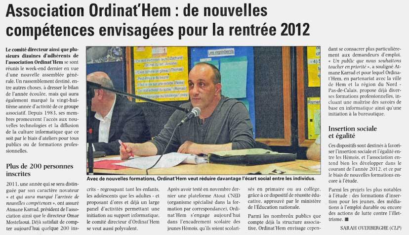 Read more about the article La Voix du Nord du 16.06.2012
