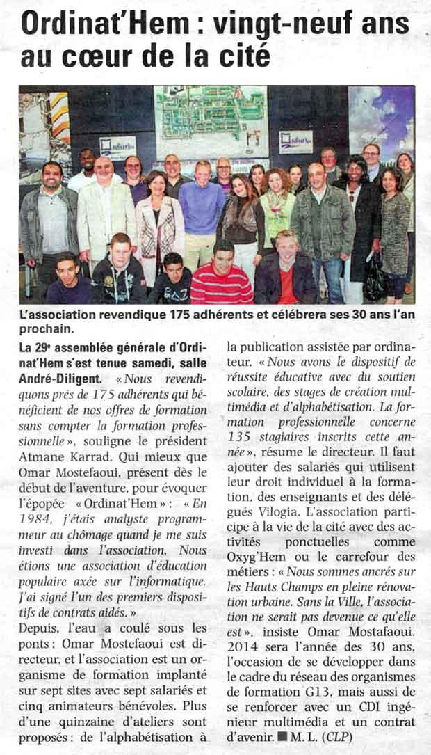 Read more about the article La Voix du Nord du 27.05.2013